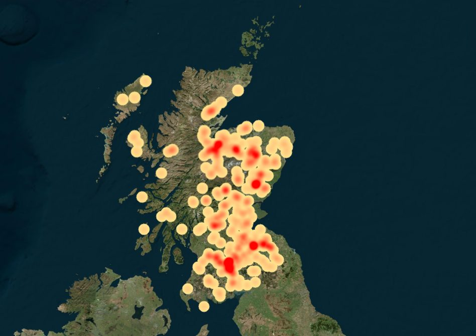 Heatmap of Raptor persecution incidents, 2005 - 2014